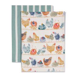 trapos de cocina de algodón estampado con gallinas de diseño