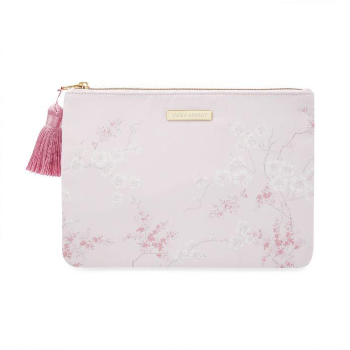 bolso plano rosa de diseño con flores orientales