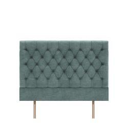 cabecero tapizado en terciopelo color azul verdoso en capitoné abotonado diseño diamante