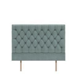 cabecero tapizado en tejido dobby liso color azul verdoso en capitoné abotonado diseño diamante