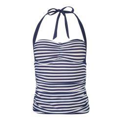 parte de arriba de camiseta de baño de rayas marineras en azul y blanco
