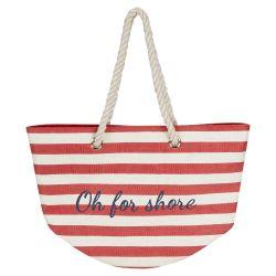 bolso de playa de rayas rojas con letras bordadas