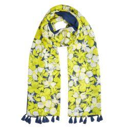 pañuelo estampado con limones amarillos y contraste azul