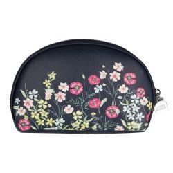 neceser de mujer para bolso, azul marino con flores de colores de diseño