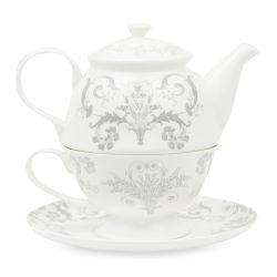 juego de tetera de porcelana de diseño clásico gris