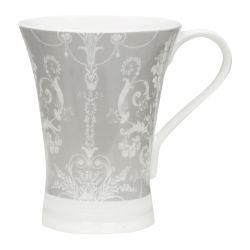taza de desayuno gris estampada con diseño clásico