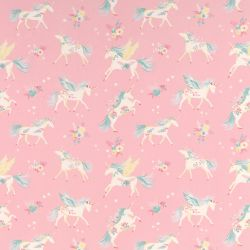 tela rosa infantil con unicornios de diseño