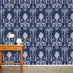 papel de pared pintado azul oscuro de diseño elegante fácil de colocar