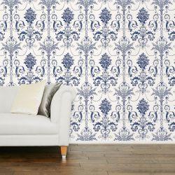 papel de pared pintado blanco y azul oscuro de diseño elegante fácil de colocar