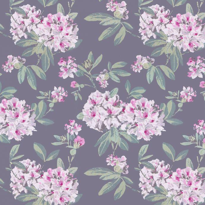 papel pintado de fondo gris oscuro con grandes flores de color rosado de diseño