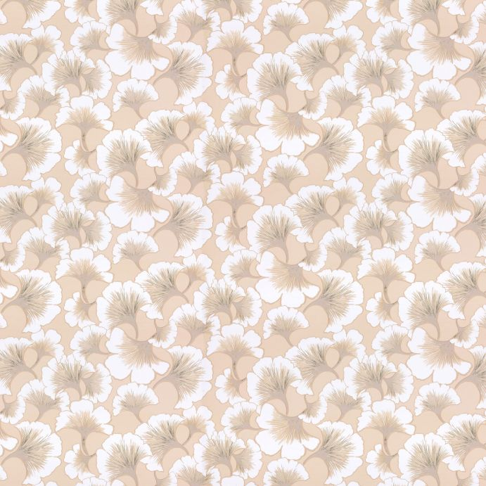 papel pintado de diseño retro con grandes flores en colores naturales