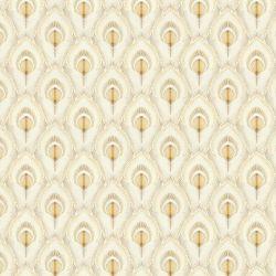 papel pintado estampado con detalle de plumas de pavo real en color dorado de diseño