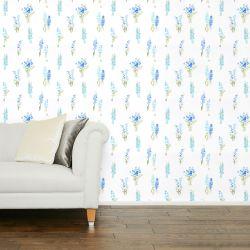 papel pintado con pequeños ramilletes de flores en un precioso color azul de diseño