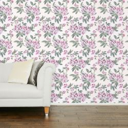 papel pintado de grandes flores de color rosa de diseño sobre fondo blanco