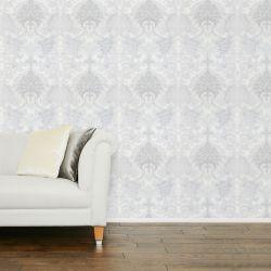papel pintado de diseño clásico de rosetón en color gris plata con reflejos brillantes