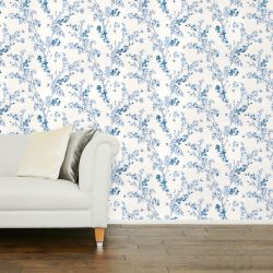 papel pintado de bonitas ramas en flor en color azul mar