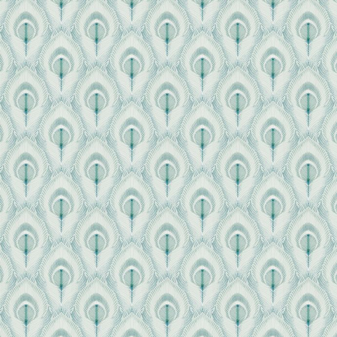 papel pintado con diseño de plumas de pavo real en azul verdoso de diseño