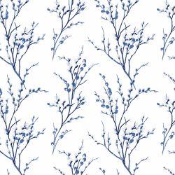 papel pintado Pussy Willow hueso azul noche