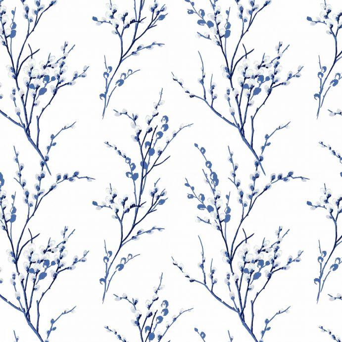 papel pintado con ramas de algodón azules sobre fondo blanco de diseño
