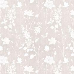 papel pintado gris con estampado de flores y hojas silvestres de diseño