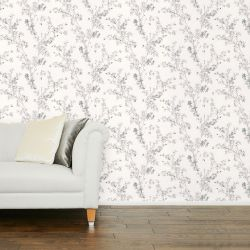 papel pintado estampado con ramas y flores en colo gris  y blanco
