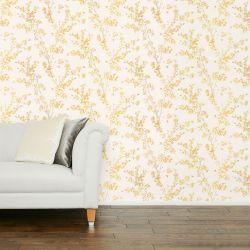 papel pintado con ramas y flores en color amarillos