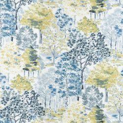 tela para cortinas y estores de diseño de árboles en tonos verdes y azules