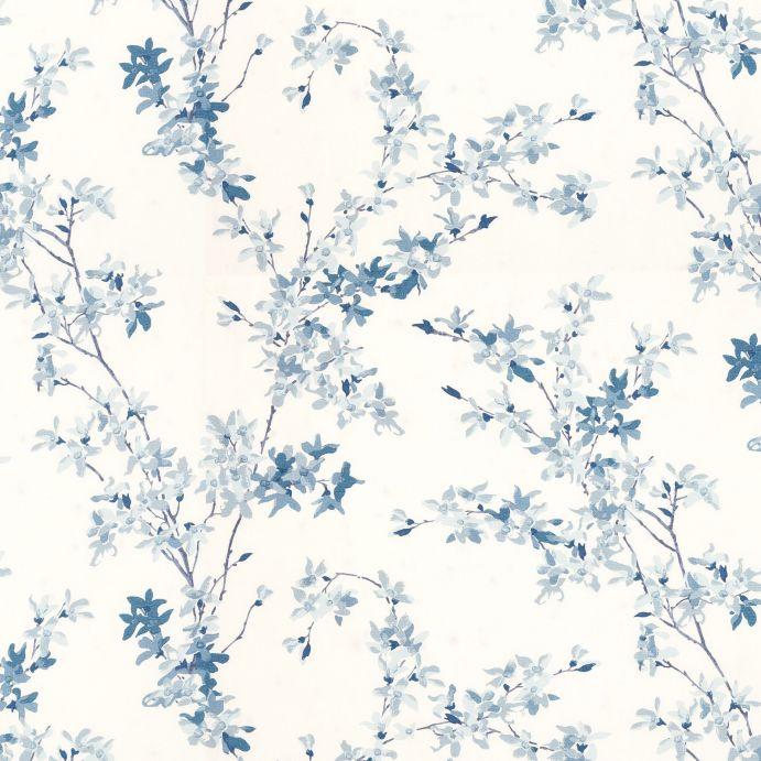 tela para cortinas y estores de flores azules y blancas de diseño