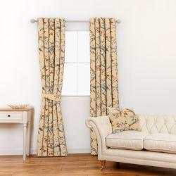 tela para cortinas y estores de flores en tonos dorados de diseño