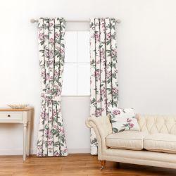tela para cortinas y estores de diseño con flores rosas y hojas verdes