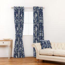 tela para cortinas y estores azul oscuro con diseño de greca adamascada