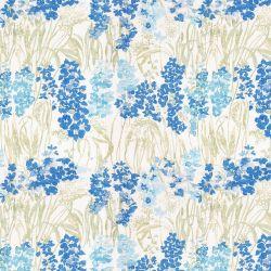 tela para cortinas y estores con estampado de flores silvestres en tonos azules y amarillos
