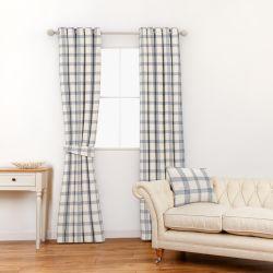 tela de diseño para cortinas y estores en cuadros azules