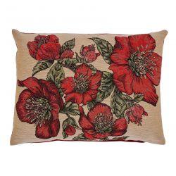 cojín con flores rojas tipo tapiz de diseño