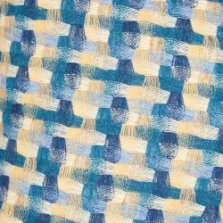 cojín de lana de diseño de cuadros en trama de tonos azules