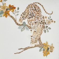 cojín bordado con leopardo decorado con cuentas de cristal