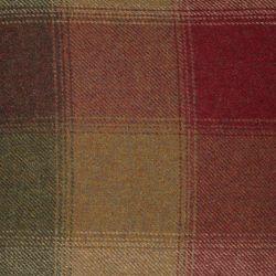 cojín de lana con cuadros en tonos rojos y marrones