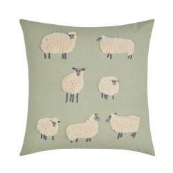 bonito cojín verde bordado con ovejas de diseño