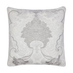 elegante cojín bordado de diseño clásico en color gris plata
