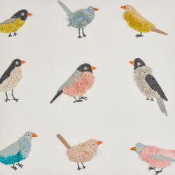 bonito cojín bordado con pájaros de diseño