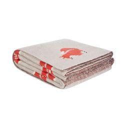 manta de punto tejido en color natural con zorros de diseño