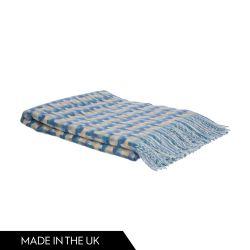 manta de diseño de cuadros cruzados en lana azul mar