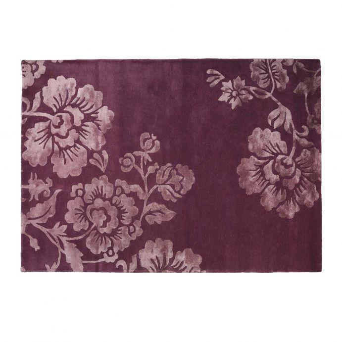 impresionante alfombra de lana morada con grandes flores de diseño