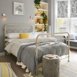 cama de forja de metal blanca de diseño