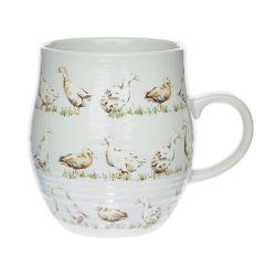 taza de desayuno con diseño de patos en color gris