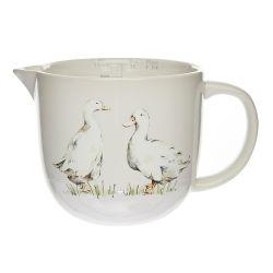 jarra cerámica con medida y diseño de patos en color gris