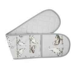 guante protector para horno en tela gris con patos estampados