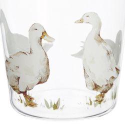 vaso de cristal estampado con patos de diseño