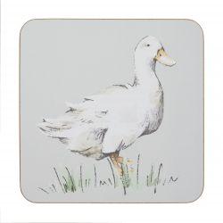 4 posavasos de diseño con patos en color gris
