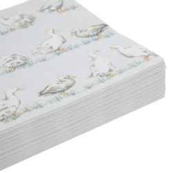 pacquete de servilletas de papel estampadas con patos en color gris